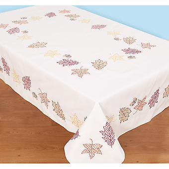 Stamped White Table Cloth 50