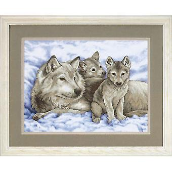 Mother Wolf And Pups Stamped Cross Stitch Kit 16