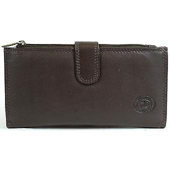 Ladies Large Soft Nappa Leather Purse with Multiple Credit Card Slots and Pockets ( Black )