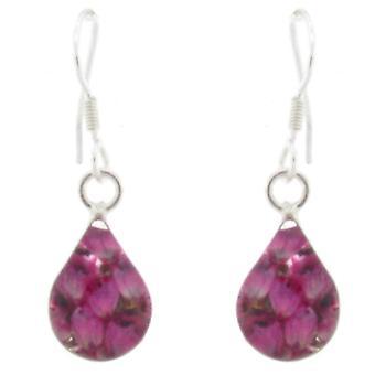 Shrieking Violet Silver Real Pink Heather Flower Cameo Teardrop Earrings