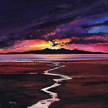 Davy Brown print - solnedgang Over Arran