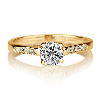 1/2 Carat G SI2 Diamond Engagement Ring 14k Yellow Gold Classic Ring Vintage Ring Round Brilliant