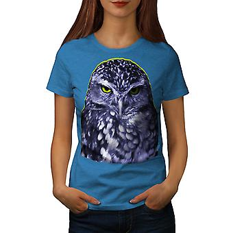 Owl Dark Bird Wild Animal Women Royal Blue T-shirt | Wellcoda