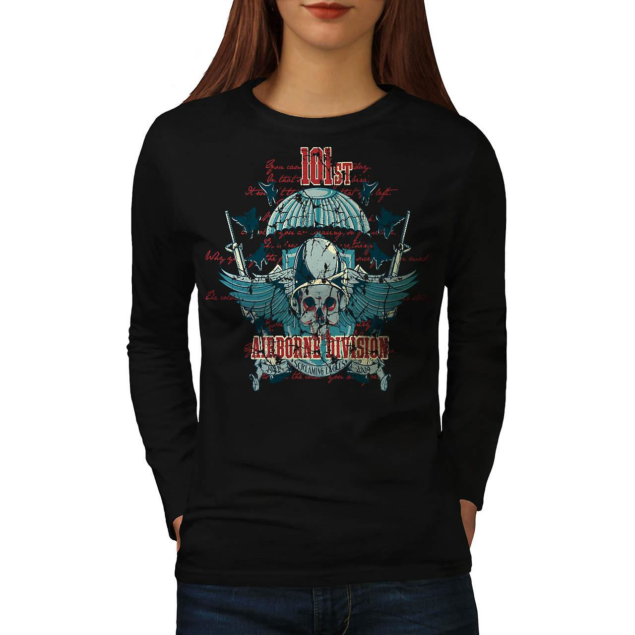 Airborne Division Fly War Flight Women Black Long Sleeve T-shirt | Wellcoda