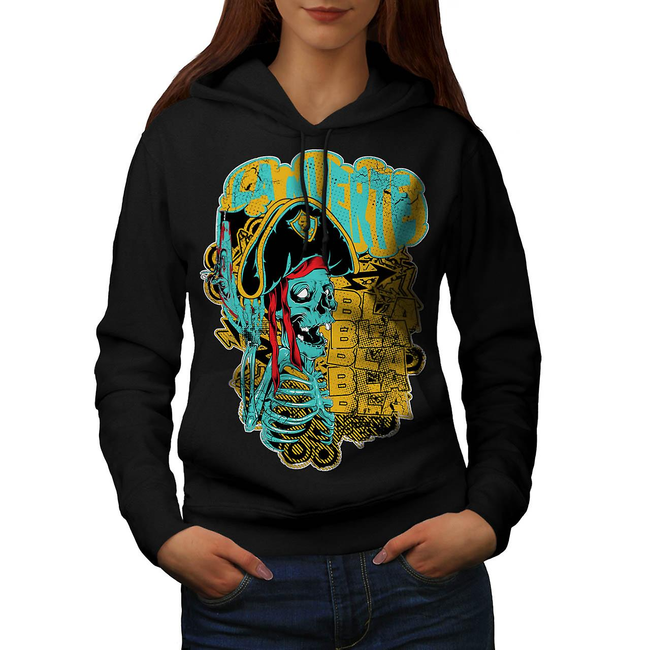 Pirate Skull Ghost Danger Talk Women Black Hoodie | Wellcoda
