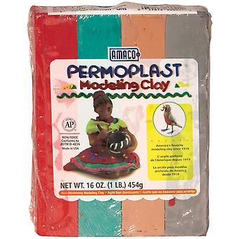 Permoplast Clay 1lb-Red, Green, Brown & Gray 900-91E