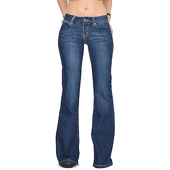 60s 70s Bell-Bottoms Faded Flared Jeans - Dark Blue