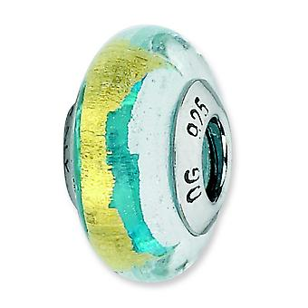 Sterling Silver Polished Antique finish Italian Murano Glass Reflections Simulated Turquoise Silver Gold Italian Murano
