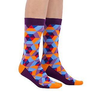The Hive luxury combed cotton crew socks in purple | Made by Ballonet