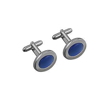 Rhodium plated 16x21mm oval blue stone set swivel Cufflinks