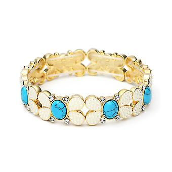 14K Gold Plated Swarovski Elements Turquoise And Simulated Pearl Bracelet, 16.5cm