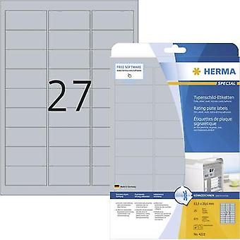 Herma 4222 Labels (A4) 63.5 x 29.6 mm Polyester film Silver 675 pc(s) Permanent Nameplates Laser, Copier