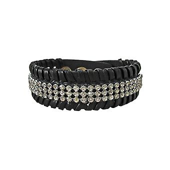 Black Vinyl Clear Rhinestone Accented Bracelet Wristband