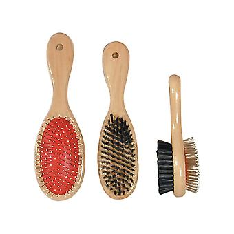Wooden Handle Double Sided Brush Med