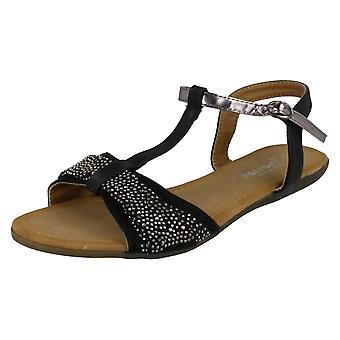 Dame Savannah T-Bar Beaded sløjfe Vamp sandaler