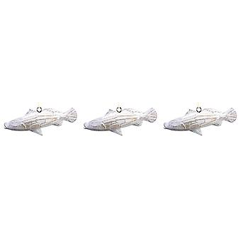 Carved Wooden Whitewashed Sea Trout Fish Ornaments Set of 3