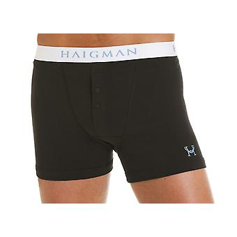 Mens Haigman Designer Cotton Stretch Buttoned Boxer Short Trunk 2 Pk In Box