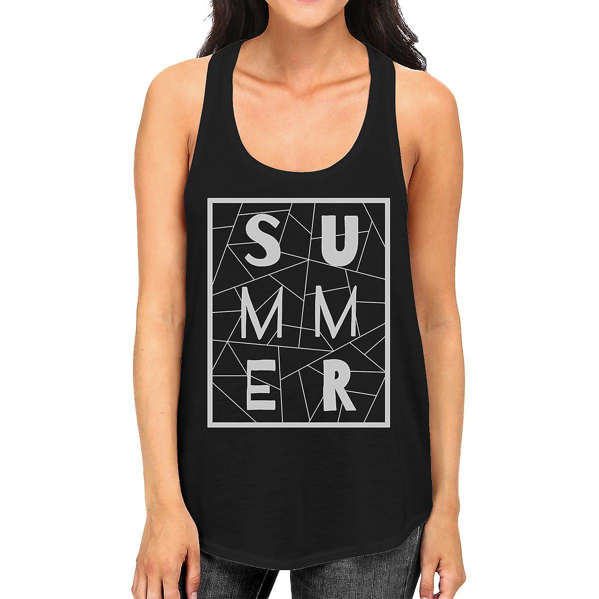 Summer Geometric Lettering Womens Black Sleeveless Shirt