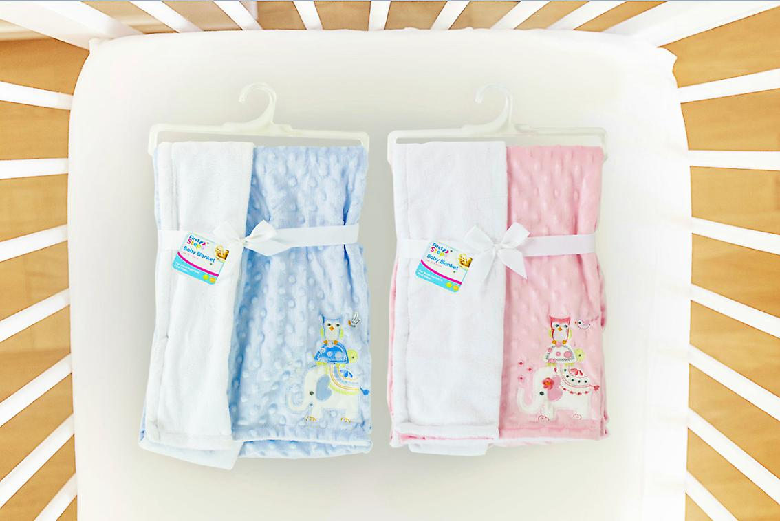 Baby Blanket Soft Reversible Embroidered Fleece Newborn 75 x 100cm