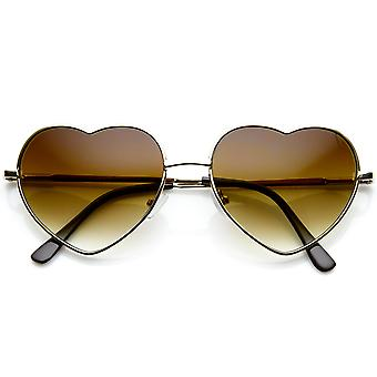 Små tynde Metal hjerte formet ramme Amor solbriller