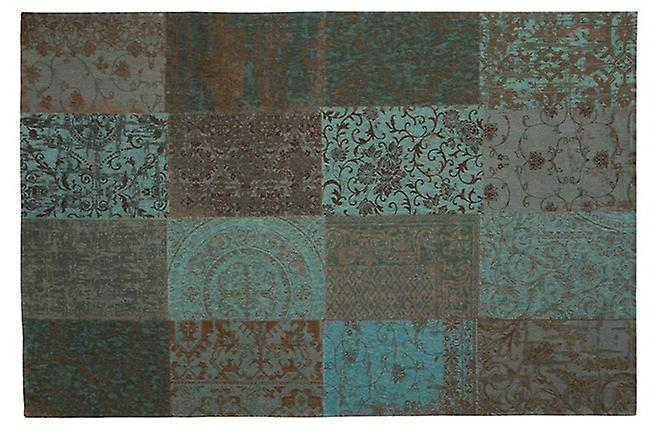 Vintage 8006 - Blue Sea bleu mou-Verts avec Beige et Brown Rectangle Tapis Tapis modernes