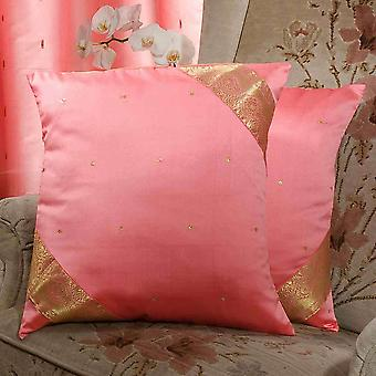 Pink-Decorative handcrafted Cushion Cover, Throw Pillow case Euro Sham-6 Sizes