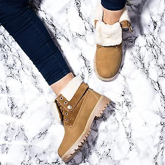 Spylovebuy KINGA Lace Up Cleated Sole Shearling Flat Combat Worker Walking Ankle Boots Shoes - Tan Nubuck Leather Style