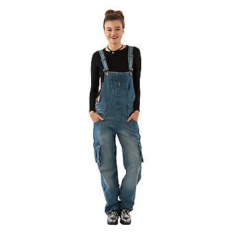 USKEES DAISY Women's Lightwash Dungarees Relaxed fit Roll-up leg overalls