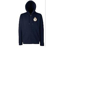 HMS achtervolger geborduurd logo - officiële Royal Navy rits Hoodie jas