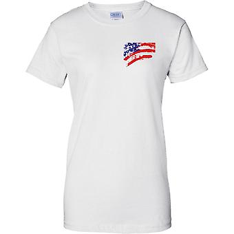 USA Stars And Strips Flag Effect - Ladies Chest Design T-Shirt