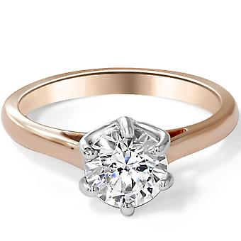 1 1/2ct Solitaire Enhanced Diamond Engagement Ring 14K Rose Gold Vintage Round