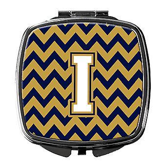 Buchstabe I Chevron Navy Blau und Gold Taschenspiegel