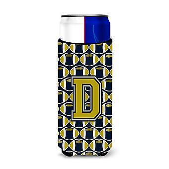 Letter D Football Blue and Gold Ultra Beverage Insulators for slim cans