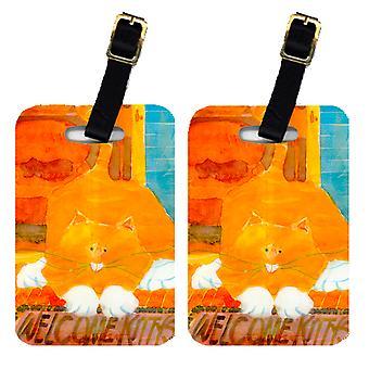 Carolines Treasures  6010BT Pair of 2 Orange Tabby Welcome Cat Luggage Tags