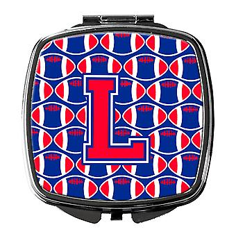 Letter L Football Harvard Crimson and Yale Blue Compact Mirror