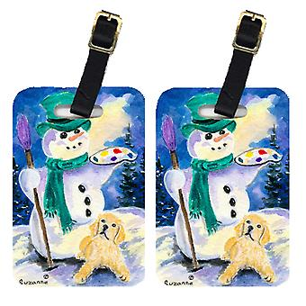Carolines Treasures  SS8994BT Snowman with Golden Retriever Luggage Tags Pair of