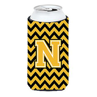 Letter N Chevron Black and Gold Tall Boy Beverage Insulator Hugger