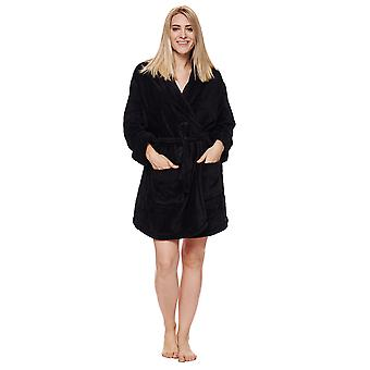 "DKNY SIGNATURE ROBE L/S 36"" ROBE BLACK"