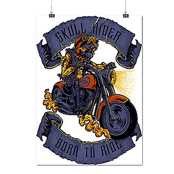 Matte or Glossy Poster with Ride Skull Moto Biker | Wellcoda | *d2074