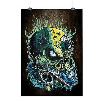 Matte or Glossy Poster with Goth Skull Hot Horror | Wellcoda | *d2800