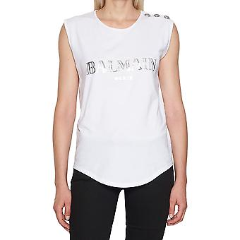 Balmain women's 128535326IC0001 white cotton tank top