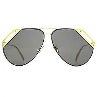 Alexander McQueen Edge Cut Out Pilot Sunglasses In Gold Grey