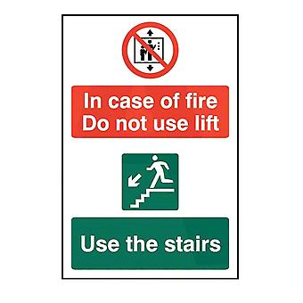 ASEC `In Case Of Fire Do Not Use Lift` 200mm X 300mm PVC Self Adhesive Sign