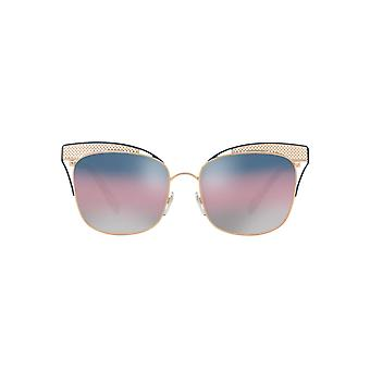 Valentino Metal Mesh Brow Detail Square Sunglasses In Rose Gold Blue