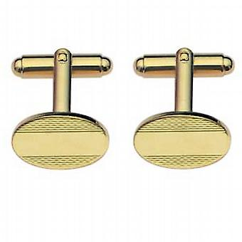 Hard gold plated 12x17mm centre space engine turned oval swivel Cufflinks