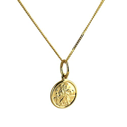 9ct Gold 10mm round St Christoper Pendant with a curb Chain 16 inches Only Suitable for Children