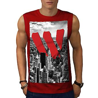 City View Men RedSleeveless T-shirt | Wellcoda