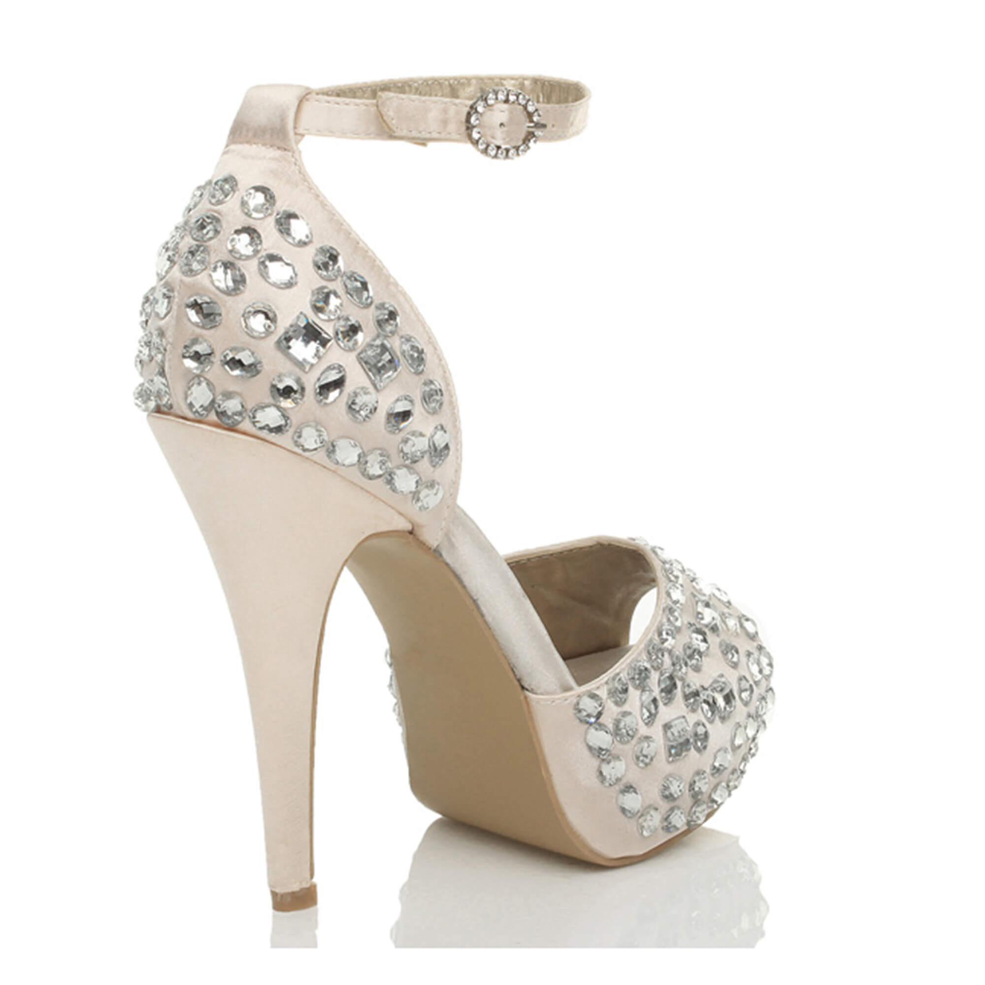 Ajvani womens high heel platform peep toe sandals gem ankle strap wedding sandals toe shoes 3a1dec