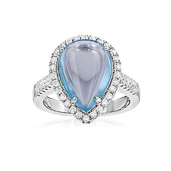 Ring in Silver 925 and 49 Zirconia stone and white Swarovski crystals blue