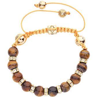 Unisex Marcrame Armband - TIGER EYE gold